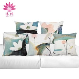 Wholesale Chinese Throw - muchun Brand Chinese Brush Painting Halloween Cotton&Linen Pillow Cover 45*45 cm Christmas Throw Thicken Decorative Pillow Case