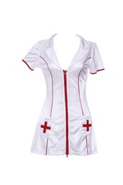 Wholesale Hot Nurse Uniform - Nurse Costume Role Play Halloween Dress Sexy Underwear Hot Lingerie Women White Red 3 Pcs Nurse Costume Jeu De Role Sous-Vetements Rouge