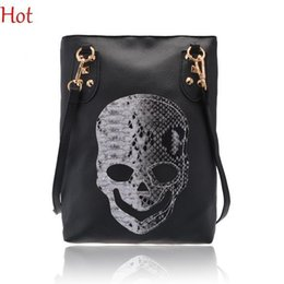 Wholesale Nice Punk - Nice Crossbody Bags Style Fashion Punk Rivets Black Skull Design PU leather Tote Handbags Womens Shoulder Bag Ladies CrossBody Bag SV113158