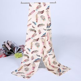 Wholesale Feather Shawls - Simulated Satin silk fashion Scarf Women 2 Color Feather Print Scarf Brand Ladies Scarves Spring Summer Shawls and Scarves