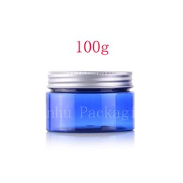 Wholesale Cosmetic Tin Cans Wholesale - Wholesale- 100g X 20 empty blue skin care cream PET jars with aluminum cap,cosmetic cream box containers wide mouth bottle sealed tin cans