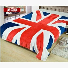 Wholesale British Throw - New Union Jack British UK Flag Blanket US Flag Blankets Plush Fleece Blanket Bed Throw on The Bed Sofa Car Queen Size 150x200cm