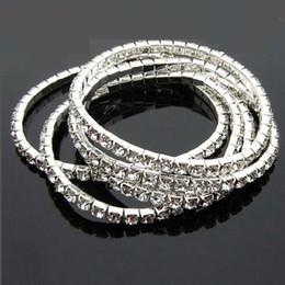 Bracelets élastiques en diamant d'halloween en Ligne-Bracelets à breloques Bracelets en argent plaqué Bijoux de mode super flash Bracelets Stretch Imitation diamant à une rangée