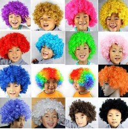 Wholesale Wigs For Carnival - 50pcs CCA2132 2017 Clown Wig Party Wigs Masquerade Halloween Christmas Explosion Head Colorful Ball fan Wigs For Kids Carnival Party Wigs