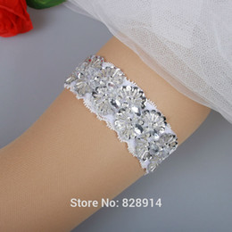 Wholesale New Bridal - Wholesale-New Fashion White Lace Wedding Bridal Garter Toss Garter Handmade With Sequins and Pearl Beads