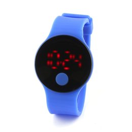 Wholesale Disc Watch - Round Colorful sports watch disc jelly color LED touch screen watch children electronic fashion series trend free shipping