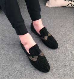 Wholesale Stamping Office - New Arrival HOT Sale Mens Slip On Sequined Loafers Men's Casual Shoes Glitter Flats stamping Golden men dress shoes moccasins NXX429