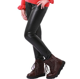 Wholesale Kids Leather Pants - New Kids Girls Stretchy Leggings Faux PU Leather Elastic Waist Skinny Pants Trousers Black 5P L