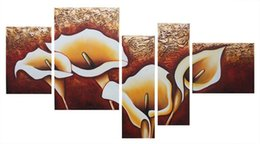 Wholesale Large Canvas Oil Paintings Sale - Wall Art Decor Black Friday Sale Hand Painted Oil Painting Blooming Lily Flower 5 Panels Large Painting Wooden Frame Ready to Hang