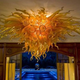 Wholesale Glass Flower Chandeliers - Amber Glass Flower Ceiling Light Chandelier LED Light Wonderful Design Hotel Home Decoration Chihully Style Murano Blown Glass Ceiling Light