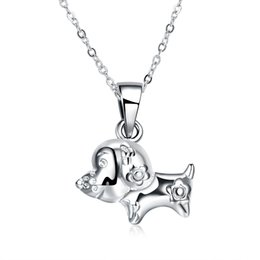 Wholesale 925 Silver Dog Chain Necklace - Charms Silver Pendant Necklaces , 925 Silver Zodiac Dog Pendants Necklaces Twelve Zodiac Silver Necklace Free Shipping n1126