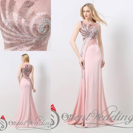 Wholesale See Through Chiffon Tops - 2017 New Arrival Scoop Real Photo Wedding Party Dresses Mermaid Top Sequins Beaded See Through Sexy Pink Designer Occasion Dresses