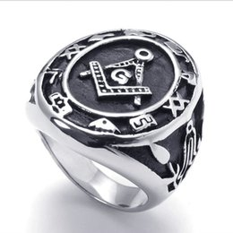Wholesale Man Steel Cast - 074067-Wholesale Casting domineering men ring symbol of the new high-end jewelry 316L stainless steel Masonic US Size: 8-15