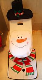 Wholesale Acrylic Bathroom Rug Set - 2016 New Christmas Decorations Santa & Snowman Toilet Seat Cover and Rug Set Bathroom Set 3pcs set Free Shipping 160318#