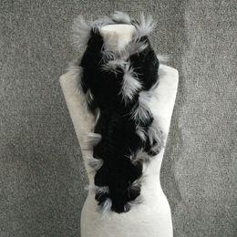 Wholesale Black Rex Rabbit Fur Scarf - Women Genuine Knit Rex Rabbit Fur silver fox Scarves Wraps Winter female Fur Accessory Neck warmers Females Neck erchief