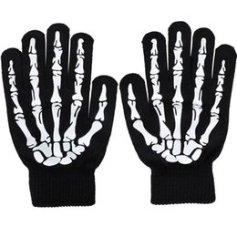 Wholesale Skeleton Halloween Gloves - Halloween Night Luminous Skull Skeleton Gloves Skull gloves Warm Knitted Winter Gloves For Men Women free shipping