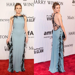 Wholesale halter feather dress - 2016 New York Gala Red Carpet Celebrity Dresses Diane Kruger Halter Feather Beaded Design Cross-criss Sexy Back Evening Dresses