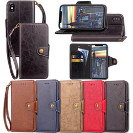 Wholesale Iphone Strap Holder - Stand Holder Wallet Case With Card Slot Hand Strap Magnetic PU Leather Cover For iPhone X 8 7 6s 6 Plus Samsung Galaxy S8 J7 J5 J3 2017