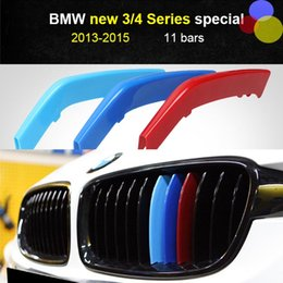Wholesale Decoration Trim Line - Car Front Grille Sport Trim Strips 3D M Styling Cover cap Motorsport tricolor Stickers for BMW 2011-2017 2013-2015 2 3 4 5 Series X5 X6