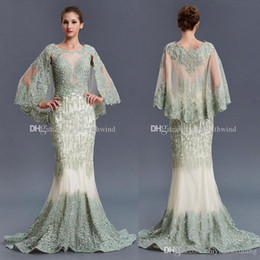 Wholesale Short Jewel Sheath - real photos Middle East Arab Dubai vintage wrap evening dresses 2018 heavily embroidery crystals beaded sweep train evening gowns