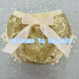 Wholesale Poplin Cloth - 2016 Baby Bling gold Sequin shorts Kids underwear Diaper Cover with bow cloth Sparkle Birthday pom pom Bloomer glitter photo prop