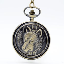 Wholesale Wholesale Steel Mens Necklace - New Fashion Wolf Totem Wolf Quartz Pocket Watch Analog Pendant Necklace Mens Womens Watches Gift