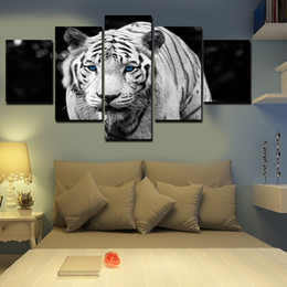 Wholesale Modern Large Canvas Oil Paintings - Unframed 5 Panel White Tiger Animal Art Pictures Large HD Modern Home Wall Decor Abstract Canvas Print Oil Painting Free Shipping