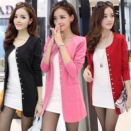 Wholesale Small Korean Jacket Coat - Wholesale- Large size women new winter Korean version of the small suit Slim thin knit cardigan coat jacket and long sections