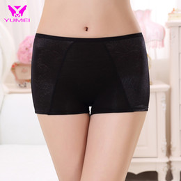 Wholesale Cotton Ladies Boxer Shorts Wholesale - Wholesale-Women Jacquard Bamboo Safety Boxer Shorts Pant Black Boxer Brief Safety Lady Free Size Inner Boxer Short Free Shipping