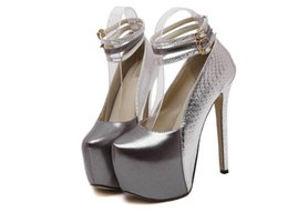 Wholesale Dance Shoes Square Toe - 2016 New Patent Leather Ultrahigh High-heeled Red   Silver Wedding Shoes Women Pumps Party Dance Sexy Shoes size 35-39