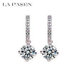 Wholesale 2ct Earrings - LA PASION Loop with 8mm 2ct Round High Quality Swiss CZ Platinum Plated Hoop Earrings For Women Anti-allergic Jewelry