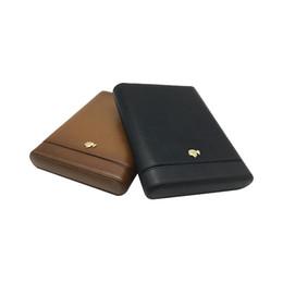 Wholesale Cedar Cigar Case - COHIBA Coffee and black Color Leather Wood lining Cedar Holder 5 Tube Easy to carry Travel Cigar Case Humidor