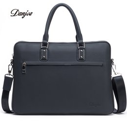 Wholesale White Briefcase Leather - Wholesale- DANJUE Genuine Leather Men Briefcase Fashion Solid Luxury Handbag High Quality Business Man Laptop Bag Brand Shoulder Bag