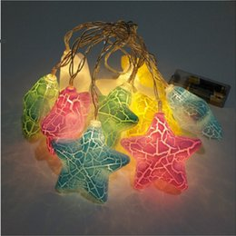 Wholesale Kids Room Pendant Light - Wholesale- Unique Cartoon Star Shaped Led String Light 1.6m 10 cute pendants Christmas birthday gift for kids children's room decor Lamps