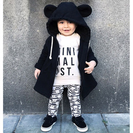 Wholesale Boys Cartoon Hoodies - Bear Kids Zipper Jacket Cartoon Cotton Hoodies Coats Long Sleeve Baby Boys Girls Fashion Outwear Autumn Winter Casual Clothing Slip-on Chain
