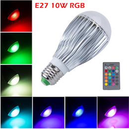 Wholesale Color Changing Mood Led Lights - Energy saving Efficient 10W E14 E27 B22 GU10 RGB Bulb LED Globe Bulb Color Changing Mood Light Bulb with 24 key Remote, Memory Function Bulb