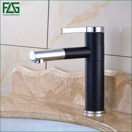 paint bathroom vanity UK - Free Shipping Basin Faucet 720 Degree Swivel Black Painting Chrome,Cold Hot Deck Mounted Vanity Sink Bathroom Tap Mixer 101-11