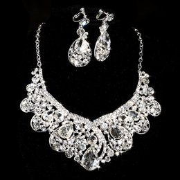Wholesale Gold Jewellery Brands - Brand Design Crystal Bridal Jewelry set 925 silver plated necklace diamond earrings Wedding jewellery sets for bride Bridesmaids women
