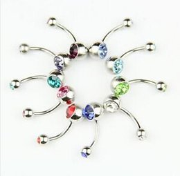 Wholesale Belly Ring Charms - 10 pcs Body Jewelry Crystal Rhinestone Belly Button Ring Y17462
