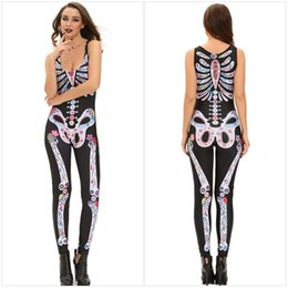 Wholesale Skull Rompers - Sexy Club Bodycon Rompers Womens Jumpsuits Fashion Skeleton Skull Printed Sleeveless Catsuit One-Piece Pants Halloween Cosplay costumes