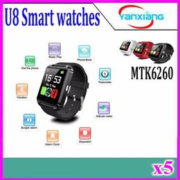 Wholesale Iphone Box 5pcs - 5PCS Bluetooth U8 Smartwatch Wrist Watches With Altimeter For iPhone 6 Samsung S6 Note 5 HTC Android Phone In Gift Box YX-U8-01