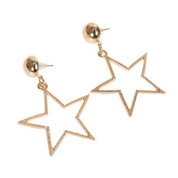 Wholesale 14k Gold Star Stud Earrings - 2pcs lot Fashion Alloy Earring Jewelry Rose Gold Color Hollow Out Star Stud Earrings For Women Party Gift