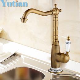 Wholesale Antique Bronze Bathroom - Free shipping Kitchen Faucet Antique Brass Swivel Bathroom Basin Sink Mixer Tap Crane,torneira kitchen product YT-6043
