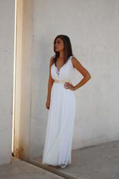 Wholesale Cheap Greek Style Wedding Dresses - Simple Cheap Greek Style Wedding Dresses with V Neck A Line Chamapange Ribbon Floor Length Sexy Back Fantasy Chiffon Bridal Gowns 2016