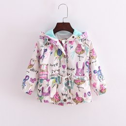 Wholesale Toddlers Trench Coats - Wholesale-Fashion trench coats for girls graffiti rabbit girls windbreaker jacket toddler girl trench coat wind proof girl hooded top