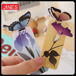 Wholesale Birthday Book - 50 pcs lot 3D Butterfly Bookmark For Beautiful Birthday Christmas Gift Book Mark Office School Supplies exquisite stationery