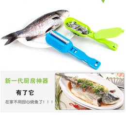 Wholesale Fish Scale Cleaners - Multifunctional Kitchen Necessary Fish Scale Scraper Fish Cleaning Skin Brush With Base Cover Knife Cooking Seafood Tool