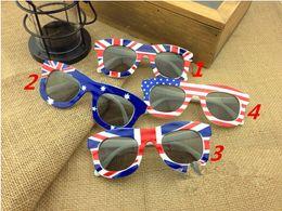 Wholesale Wholesale Frames Usa - New Style Kids USA Flag Sunglasses America Print UK Children Sun Glasses 24Pcs Lot Free Shipping
