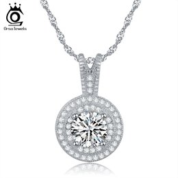 Wholesale Silver Pendant Chains - ORSA New Arrival 1.25ct Heats and Arrows Cut 925 Silver Zircon Pendant Necklace for Women ON87