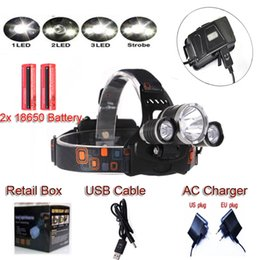 Wholesale Headlight Cable - 2016 RJ- 5000 3L2 Headlamp Bicycle Light Rechargeable LED Headlight Headlamp +battery+Car Charger+USB Cable+Charger